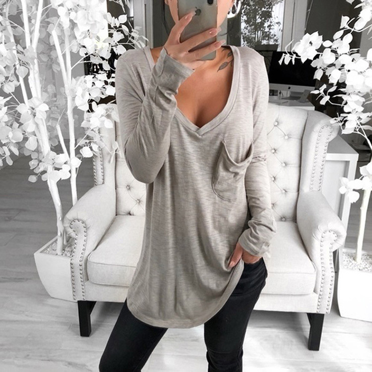 Casual Long Shirts Top 2020 Spring New Women's T-shirts With Pocket Female Solid Loose Tee Shirt Big Sizes 3XL Deep V-Neck Shirt