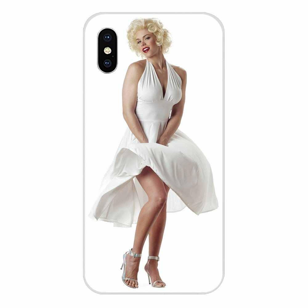 Marilyn Monroe Em Seu Vestido Branco Para Apple iPhone 4 4S 5 5C 5S SE 6 6S 7 8 mais X XS Max XR TPU Moda