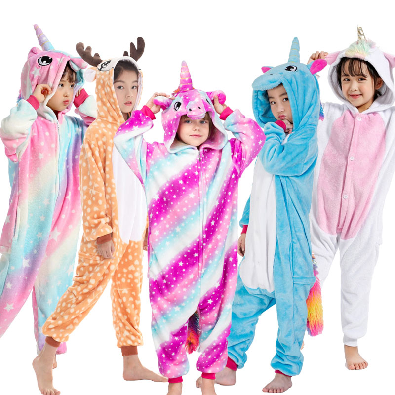Children Unicorn Dinosaur Pajamas Jumpsuit Winter Warm Animal Cosplay Sleepwear Boys Girls Cute Christmas Pyjamas Overalls Kids