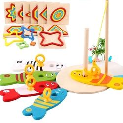 Juego de 8 piezas digitales de pesca de madera para bebé, juguete educativo de pesca de peces, columna y rompecabezas Montessori para niños, clasificación de matemáticas