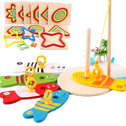 8Pcs/Set Wooden Fishing Digital Toys Baby Fish Set Column & Kids Montessori Puzzle Sorting Math Bricks Educational Game Toys