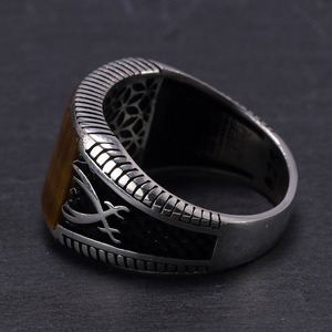 Image 3 - Garantiert 925 Sterling Silber Ringe Retro Vintage Türkische Ringe Mann Ringe Mit Stein Rot Schwarz Onyx Tiger Eye Türkischen Schmuck