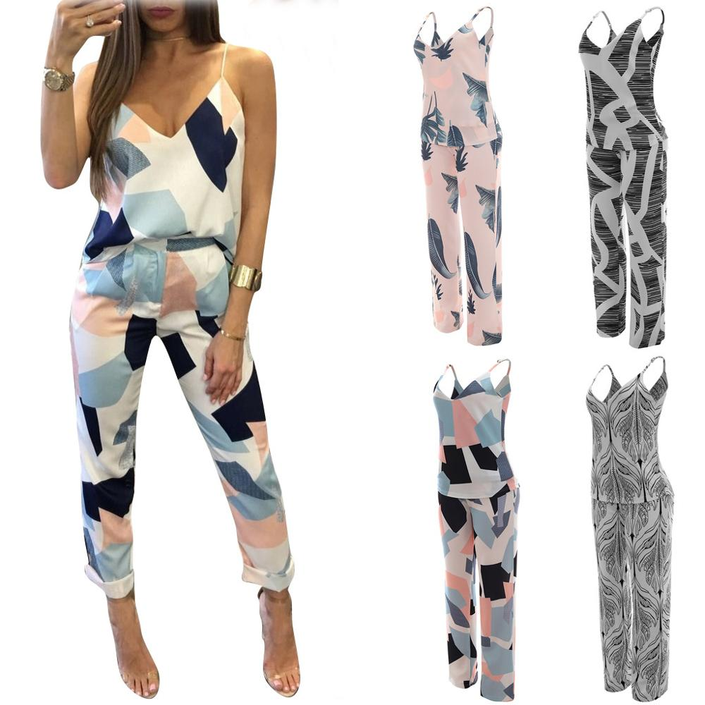 Echoine women 2 piece sets Color matching sexy two-piece suits sling top + pants playsuits summer bodysuit low price clearance image