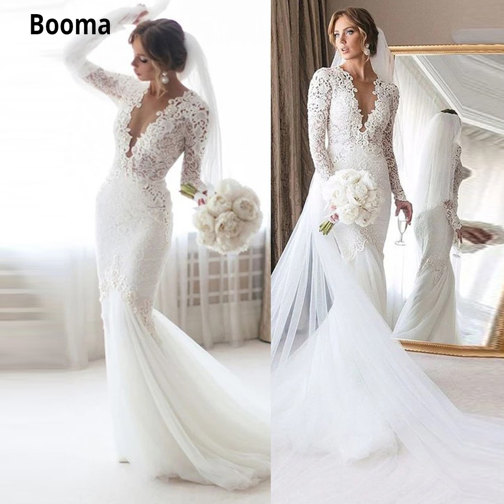 Booma Elegant Lace Mermaid Wedding Dress Full Sleeve Sheer Deep V-neck Lace Bridal Gowns Soft Tulle Court Train Marriage 2020