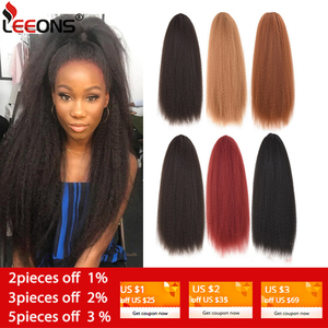 Leeons 22 Inch Drawstring Ponytail Hair Extension Clip Synthetic Afro Kinky Straight Ponytail Hairpieces With Elastic Band Comb(China)