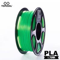 Topzeal Jelas 3D Filamen Plastik PLA Filament 1.75 Mm 1Kg Dimensi Akurasi +/-0.02 Mm Transparan Hijau untuk 3D Printer