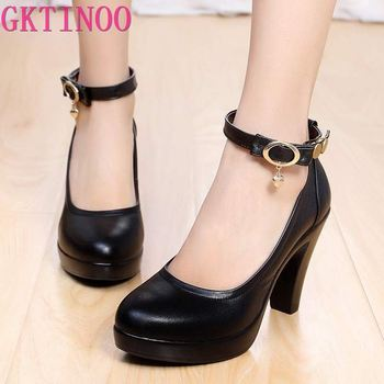 Black Pumps For Work | GKTINOO 2019 Women's High Heel Shoes Female Black Pumps Genuine Leather Strap Work Shoes Size 34-43