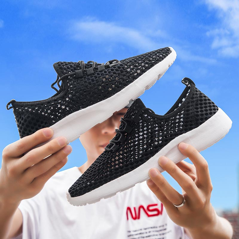 Big Size Breathable Women Sport Sneakers Summer Women's Sports Shoes Mesh Tennis Shoes Light Weight Running Shoes Black B-306