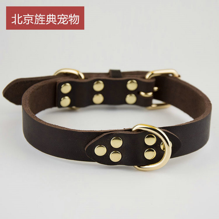 New Style Cowhide Dog Neck Ring Training Collar First Layer Of Leather Collar Handmade Pet Traction Rope Bandana