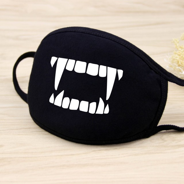 Cycling Outdoor Anti PM 2.5  Mouth Masks Cotton Cartoon Anime Teeth Anti Haze bacteria Flu Face Masks Solid Black D40 2