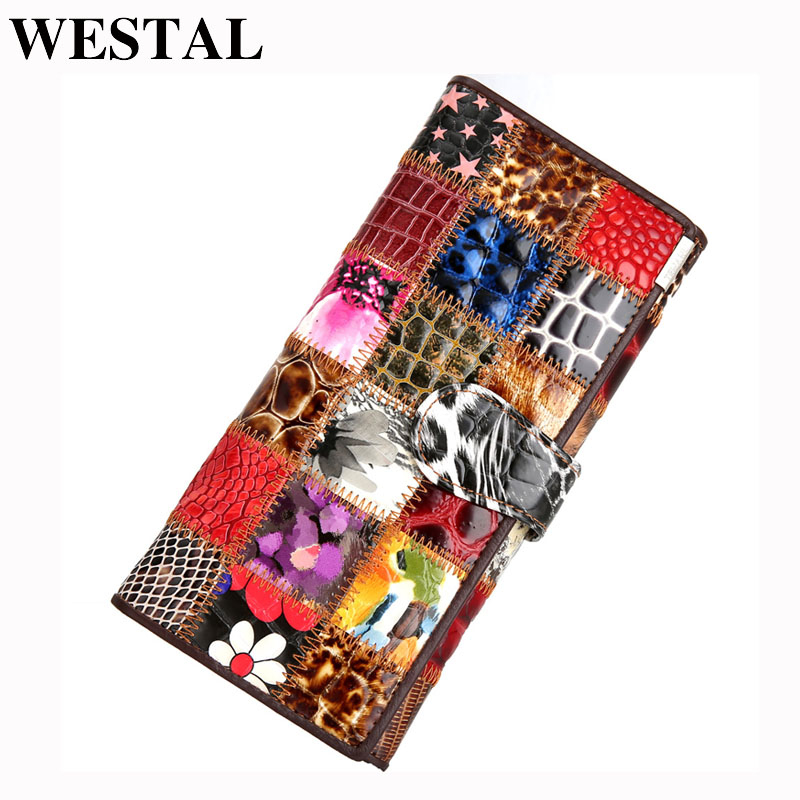 WESTAL Women's Clutch Bag Wallet Female Genuine Leather Colorful Coin Purse Women Leather Wallets Female Purse Money Bags 4202