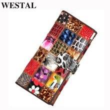 WESTAL femmes pochette portefeuille femme en cuir véritable coloré porte monnaie femmes en cuir portefeuilles femme sac à main sacs dargent 4202