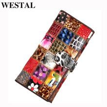 Westal bolsa de embreagem feminina carteira feminina couro genuíno colorido moeda bolsa feminina carteiras de couro feminino dinheiro sacos 4202