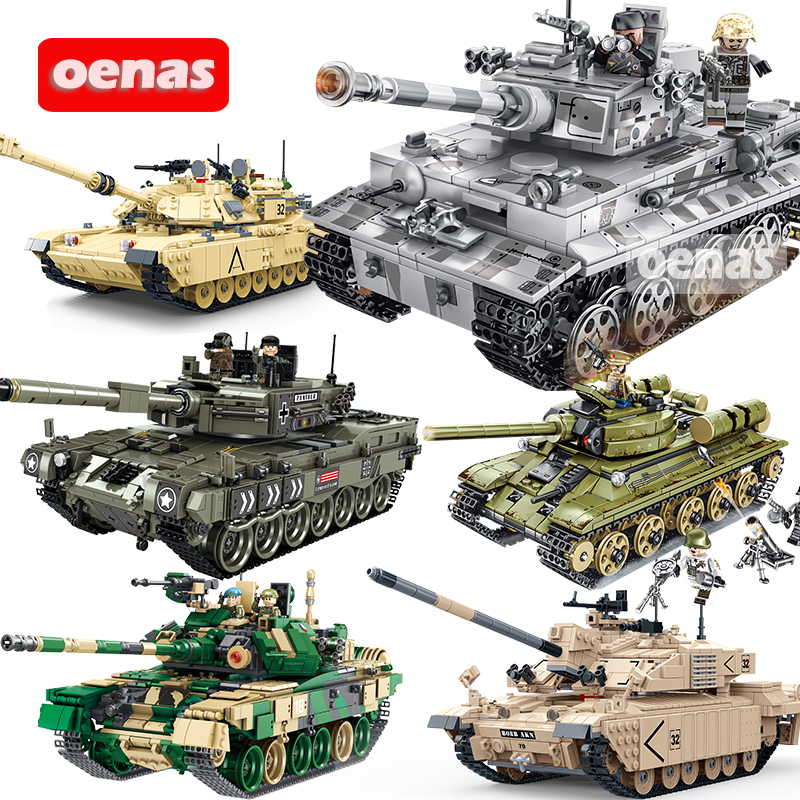 Military Battle Loepard 2 II Type 99 T90 T34 Main Tank Model DIY Compatible Legoed Assemble Building Block Bricks Kids Toys Gift