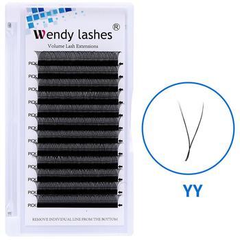 YY Style Eyelash Extensions Faux Mink Double Tip Eyelashes Wholesale Premade Volume Fan YY Lash Individual Makeup Grafting Lash 1