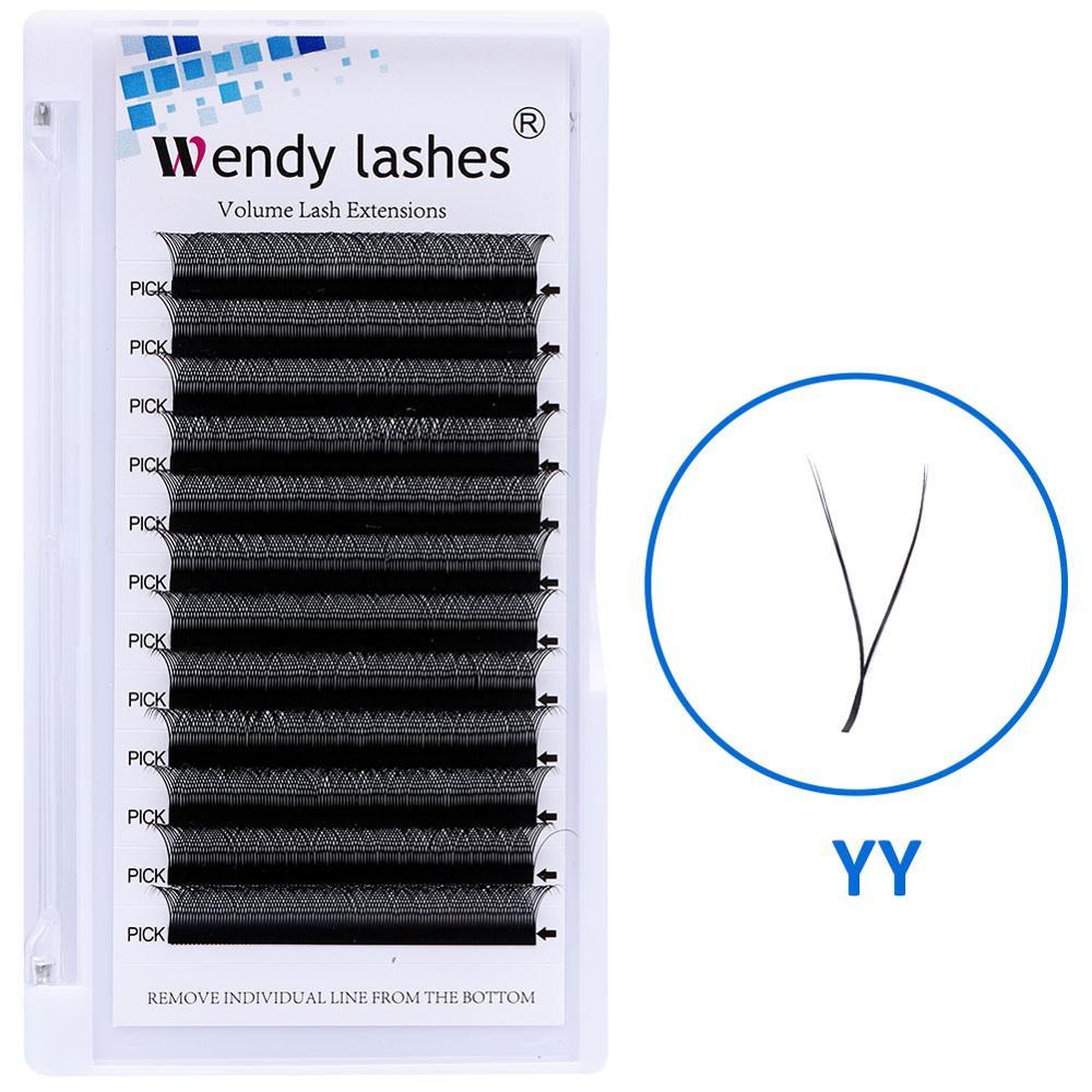 Ресницы для наращивания YY Style из искусственной норки, ресницы с двойным наконечником, оптовая продажа, готовый объемный веер, искусственная ...