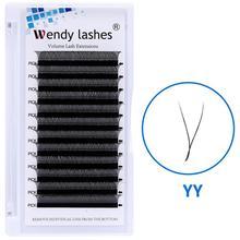 YY Style Eyelash Extensions Faux Mink Double Tip Eyelashes Wholesale Premade Volume Fan YY Lash Individual Makeup Grafting Lash