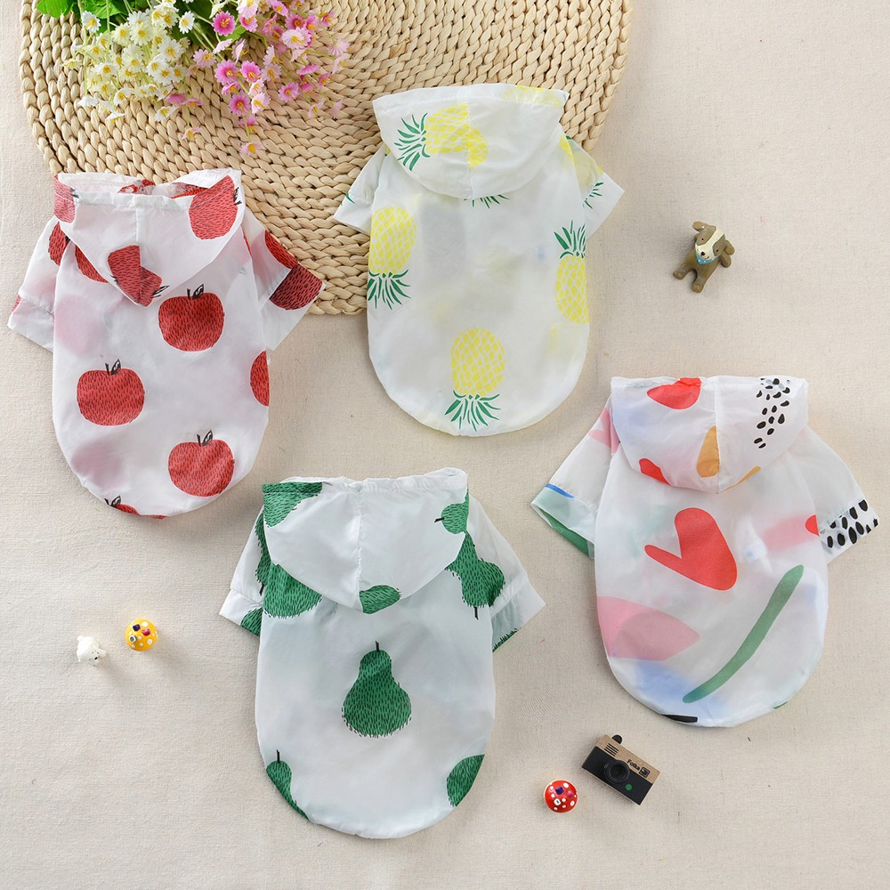 Summer Sun Protection Hoodie Small Dog Clothes Dog Raincoat Sun-proof Clothing For Small Medium Pets Fruit Printing Print Poncho