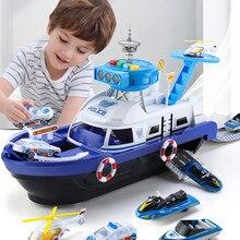 Barco de juguete con historia musical para niños, pista de simulación de inercia, barco de gran tamaño, montar, desmontar, modelo de barco, juguetes de estacionamiento