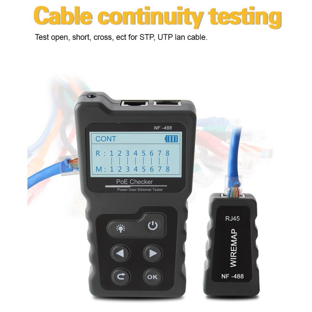 Multi-funcional LCD Testador De Cabo de Rede Tester Atual com Testador de Cabo e Verificador de Tensão Embutido PoE PoE