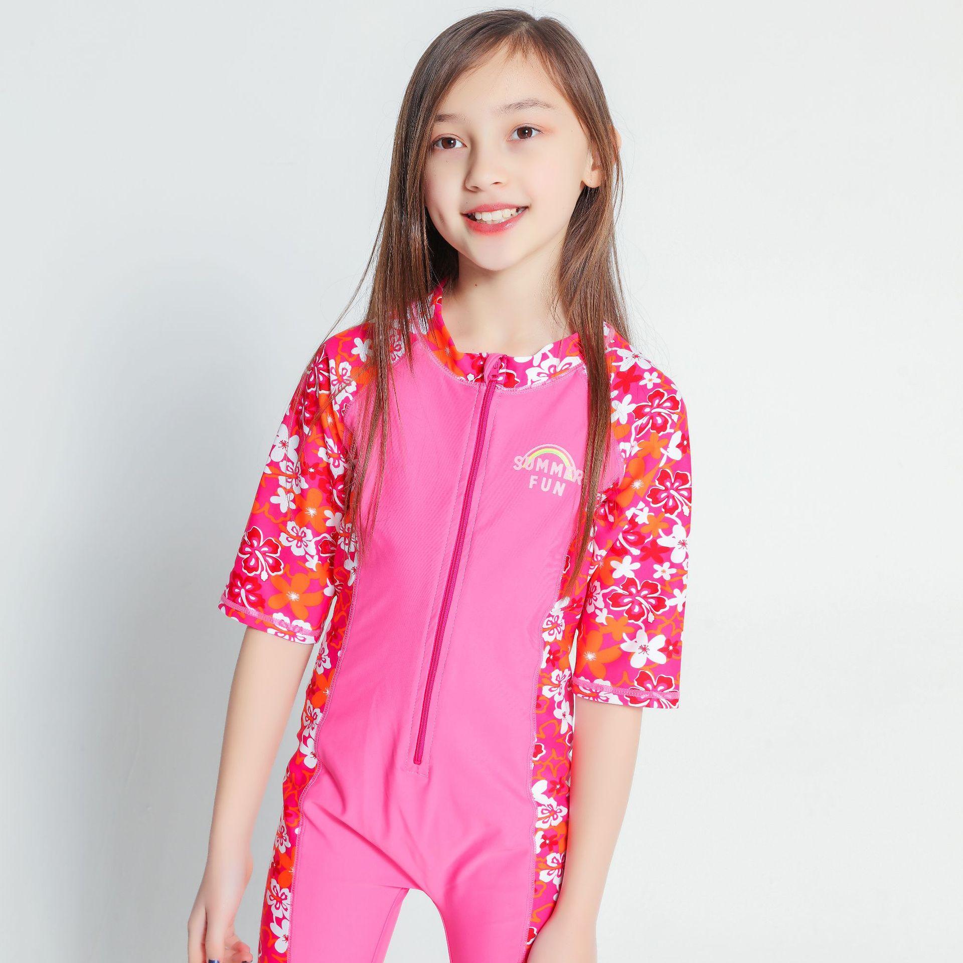 2019 Girls Anti-zi Brocade Urethane Elastic Fibre Flower Mixed Colors Half-sleeve Shirt One-piece CHILDREN'S Swimwear Beach Bath