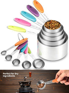 Spoons-Set Measuring-Cups Baking Coffee Stainless-Steel Kitchen for Tea 10piece