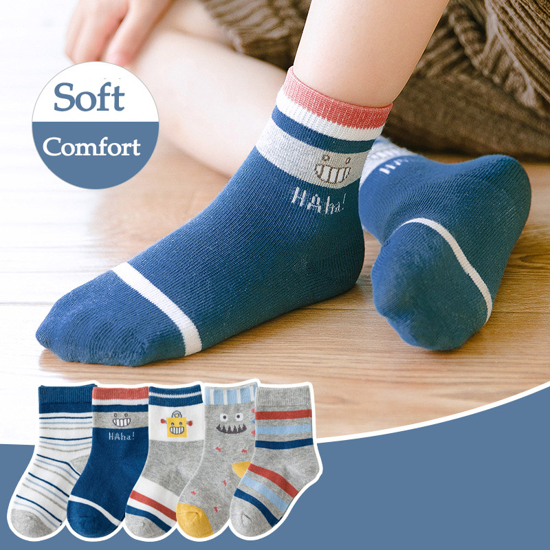 Cute Cartoon Baby Boy Socks Winter Thicken Cotton Toddler Girl Socks Soft Animal Print Children Socks 5 Pairs/lot Infant Socks 3