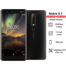 Nokia 6.1 4g smartphone android 5.5 ips ips lcd completo-hd snapdragon 630 octa núcleo 4gb ram 16mp 8mp câmera android 8.1 telefones celulares