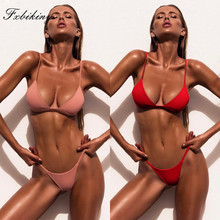 цена на Sexy Brazilian Bikini Set Women Bikini 2019 Mujer Solid Bathing Suit Swimwear Summer Beachwear Female Low Waist Swimsuit Biquini