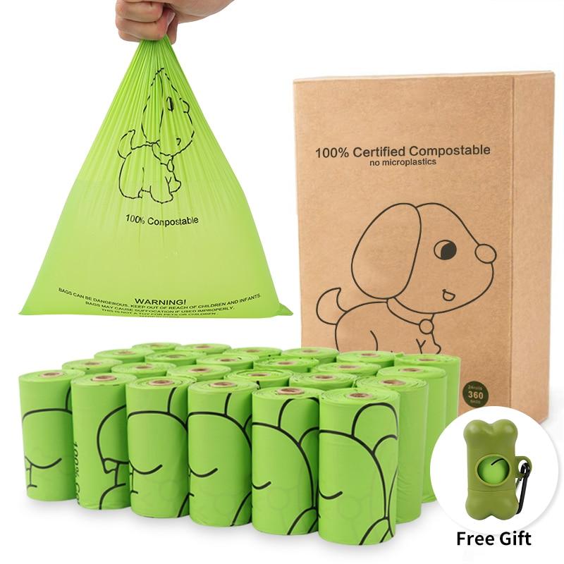 Биоразлагаемые мешочки для собак, 24 рулона, кукурузный крахель, экологичный мешок для отходов для собак, 300 отсчетов, мешочки
