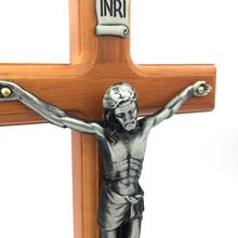 28cm Antique Silver Finish Jesus Christ Handmade Crucifix Wall Cross Wooden Catholic Crucifix Hanging Crosses Home Wall Decor