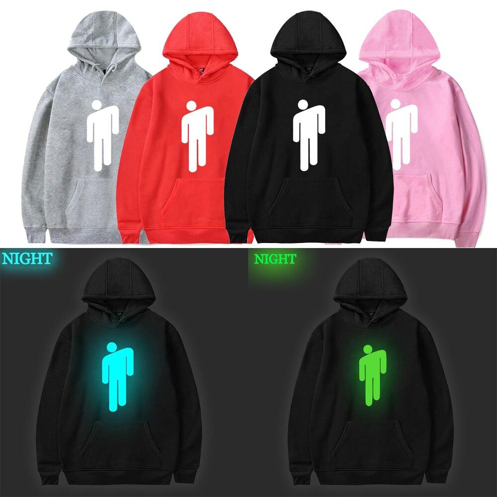 Billie Eilish Hoodie Men Black Cotton Hoodie Couple Luminous Billie Elish Sweatshirt Simple Keep Warm Women/men Clothes