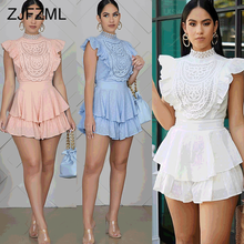 Lace Ruffles Splice Rompers Womens Jumpsuit High Necked Slee