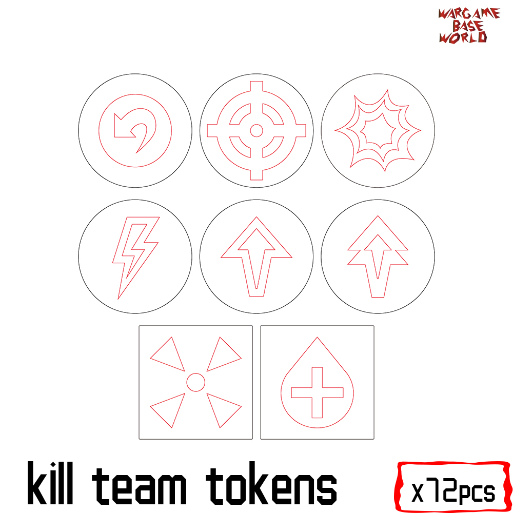 Wargaming Accessory Set - Kill Team Tokens -72pcs - Need Buyer Paint