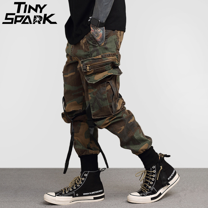 2020 Mens Hip Hop Pant Side Pockets Vintage Camouflage Cargo Pant Streetwear Casual Harem Pant Military Tatical Trousers Washed