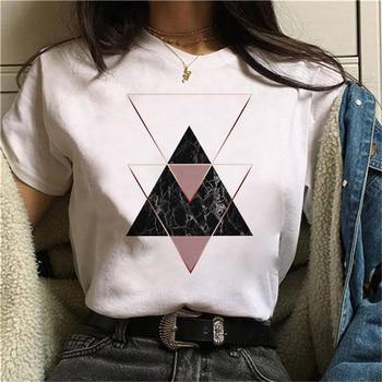 Beautiful geometry printed t shirt women 90s Graphic T-shirt Harajuku Tops Tee Cute Short Sleeve animal tshirt Female Tshirts 21