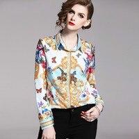2019 Chiffon Blouse Long Sleeve Women TVVOVVIN Casual Blouse Tops Blusas Femininas Floral Vintage Print Ladies Office Shirt L358