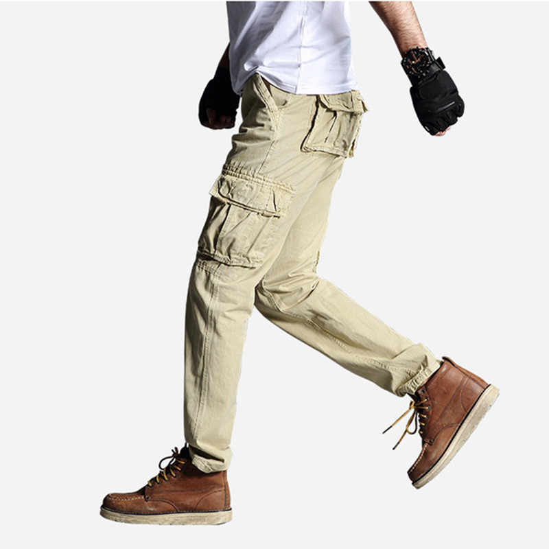 Męskie spodnie dorywczo Cargo marki wiosna jesień moda bawełna proste spodnie Cargo człowiek styl wojskowy spodnie z kieszeniami rozmiar 29-40