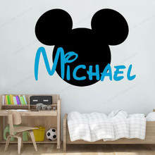 Personalized custom Name Wall Decal Mickey Ears wall sticker vinyl Cartoon kids room wall decor JH08 cartoon plant vinyl decorative wall sticker