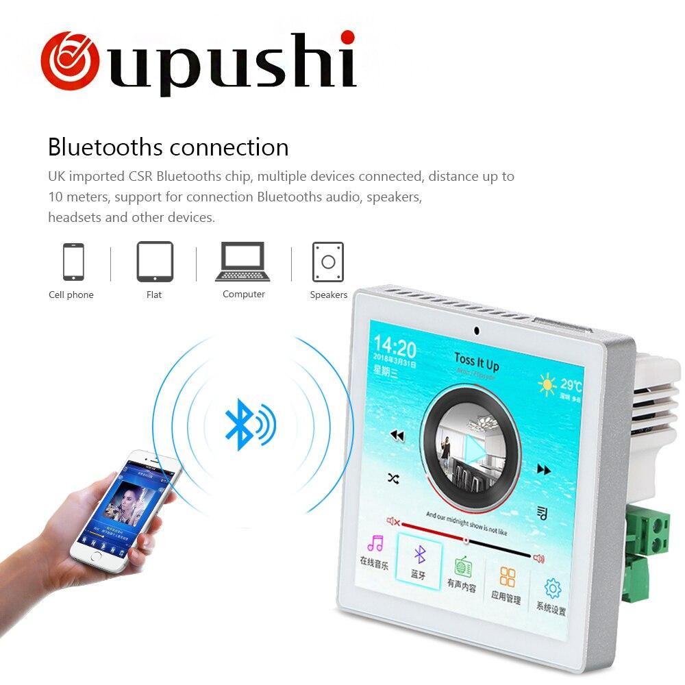 Amplificateur stéréo numérique audio WIFI 4 , écran tactile dans le système android mural, lecteur de musique USB audio à la maison, système home cinéma HDMI - 4