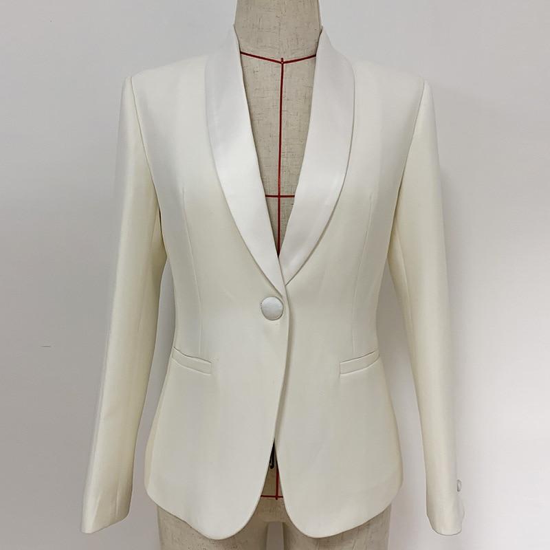 White Blazer Suit Jacket Women Slim-Fit One-Button Satin Shawl Lapel Blazer OL Coat Blazer Mujer Veste Femme Nancylim 2020