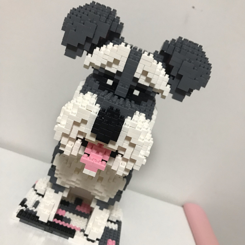 Balody Schnauzer Grey Dog Pet Animal DIY Diamond Mini Building Nano Block Toy