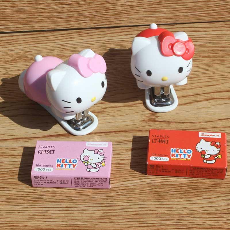 1 pcs pink / red kitten panda stationery childrens cartoon mini cute portable stapler set