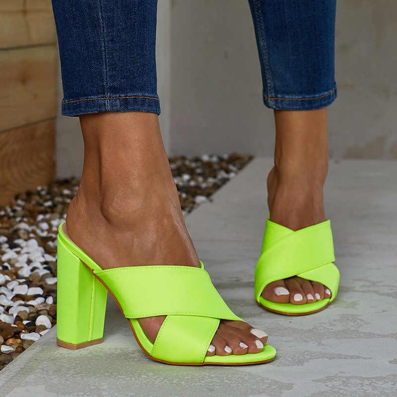 2019 grande taille 35-42 été femmes 11cm talons hauts diapositives femmes Mules Orange dame fétiche néon vert sandales bloc talons chaussures