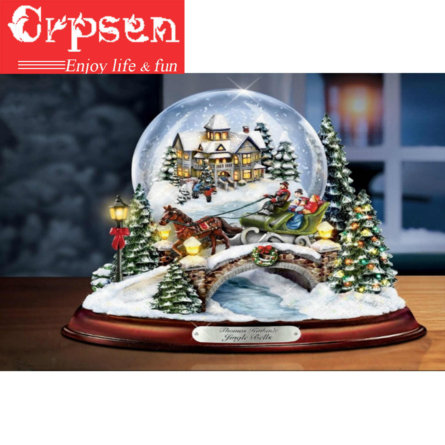 5D DIY Diamond Painting Embroidery Snowball Christmas Round Drill Home Decoration  Crafts & Sewing Needlework Cross Stitch