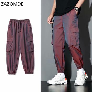 ZAZOMDE Streetwear męskie spodnie bojówki męskie odblaskowe luźne spodnie hip-hopowe męskie spodnie haremki 2020 spodnie dresowe męskie dziewiąte spodnie tanie i dobre opinie Ołówek spodnie CN (pochodzenie) Mieszkanie Poliester Kieszenie REGULAR Pełnej długości longsheng High Street Midweight
