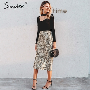 Image 4 - Simplee paski zebry damskie spódnica trzy czwarte wysokiej talii prosty nadruk zwierzęta kobiece dół spódnica wypoczynek nocna impreza klubowa spódnica damska