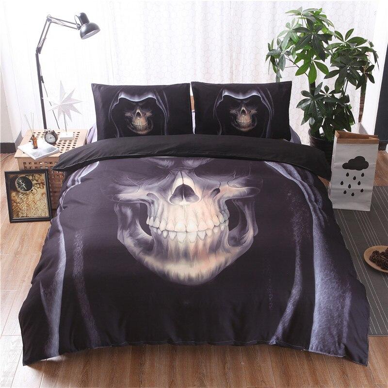 3D Black Skull Print Bedding Sets Duvet Cover Set 2/3pcs Double Queen King Bedclothes Bed Linen(No Sheet No Filling)