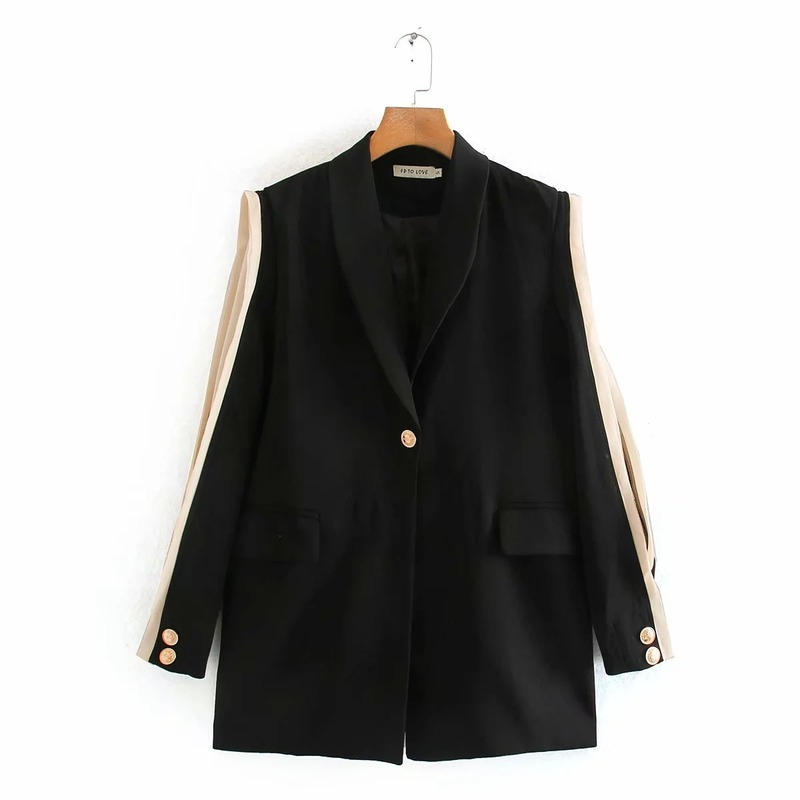 Early autumn women's black jacket small suit high quality 2020 new fashion solid color lace sleeve ladies blazer Office coat