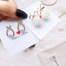 Korea Hot Fashion Earrings 2019 Gold Metal Earring For Women Girl Fine Pearl Femme  Design Jewelry
